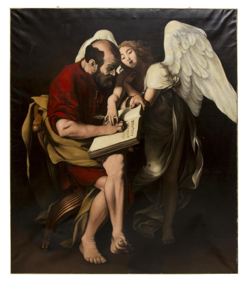 OIL PAINTING AFTER CARAVAGGIO'S 'SAINT MATTHEW'