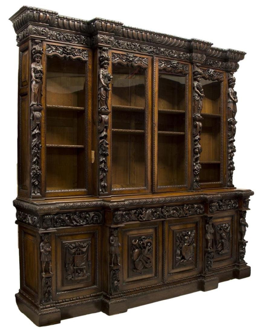 MONUMENTAL CARVED OAK RENAISSANCE REVIVAL BOOKCASE