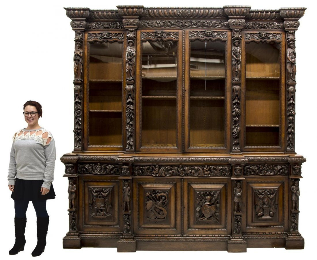 MONUMENTAL CARVED OAK RENAISSANCE REVIVAL BOOKCASE - 2