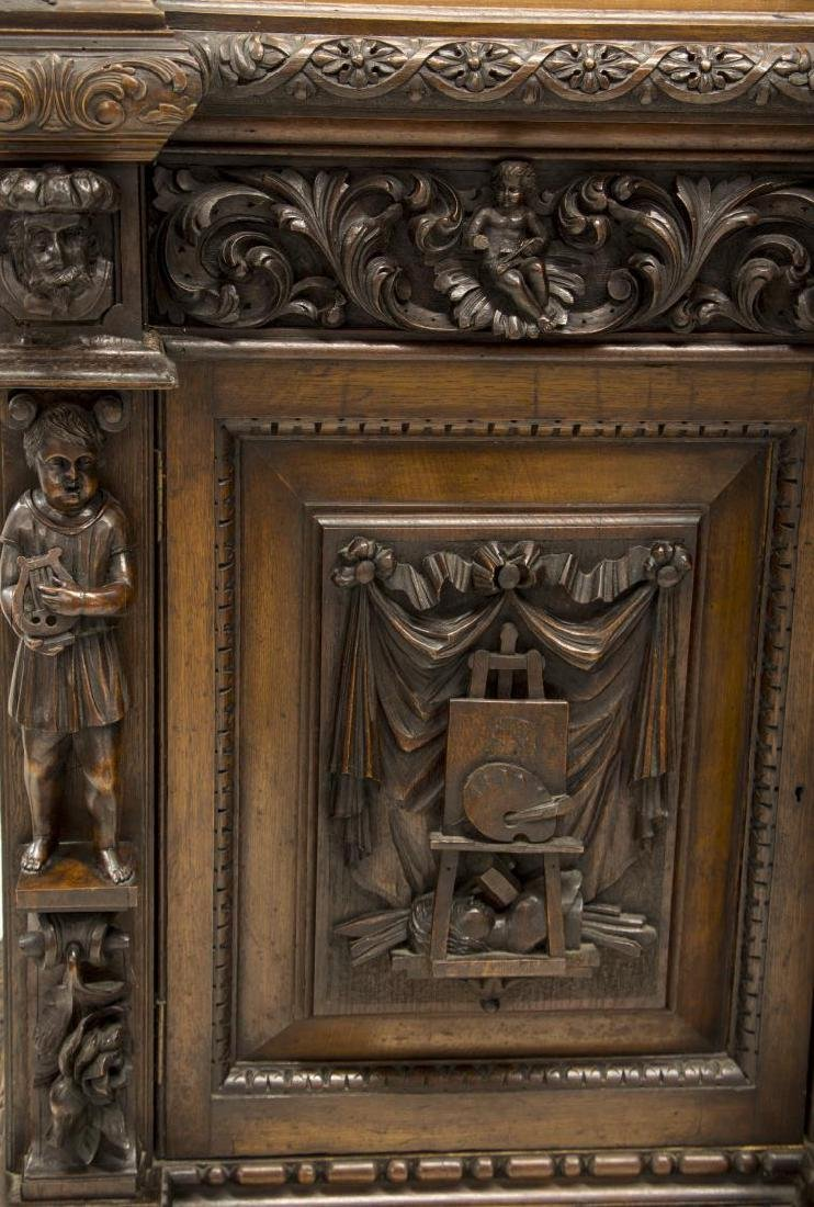 MONUMENTAL CARVED OAK RENAISSANCE REVIVAL BOOKCASE - 4