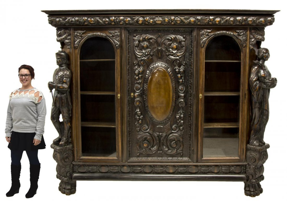 RENAISSANCE REVIVAL HEAVILY CARVED FIGURAL CABINET - 2
