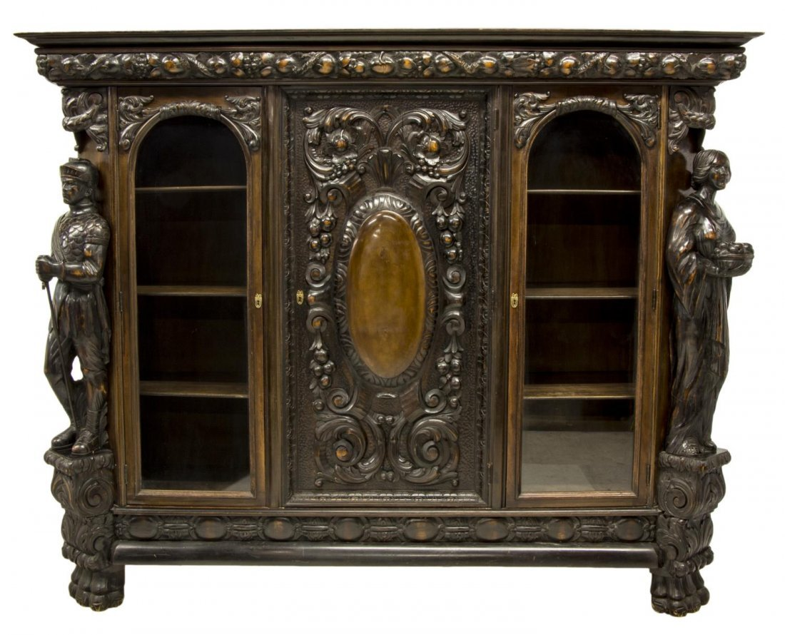RENAISSANCE REVIVAL HEAVILY CARVED FIGURAL CABINET - 3