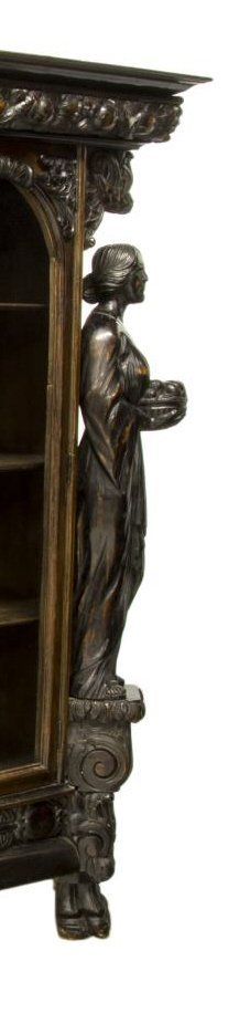 RENAISSANCE REVIVAL HEAVILY CARVED FIGURAL CABINET - 6