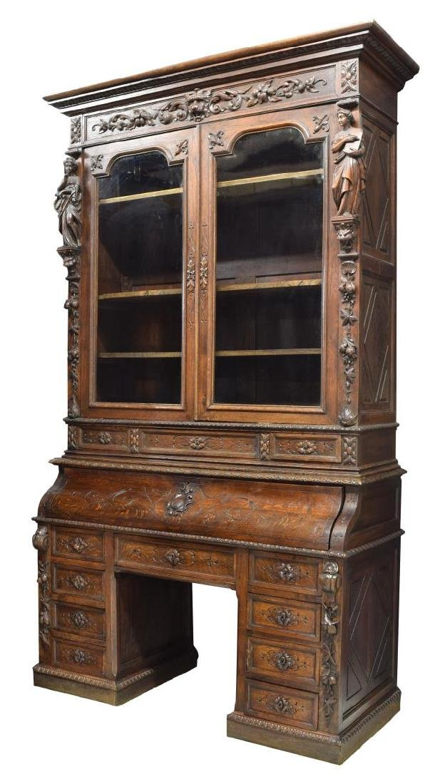 MONUMENTAL CARVED SECRETARY BOOKCASE