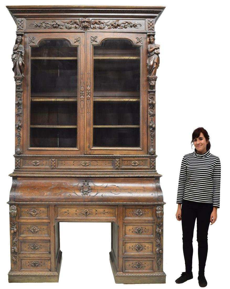 MONUMENTAL CARVED SECRETARY BOOKCASE - 2