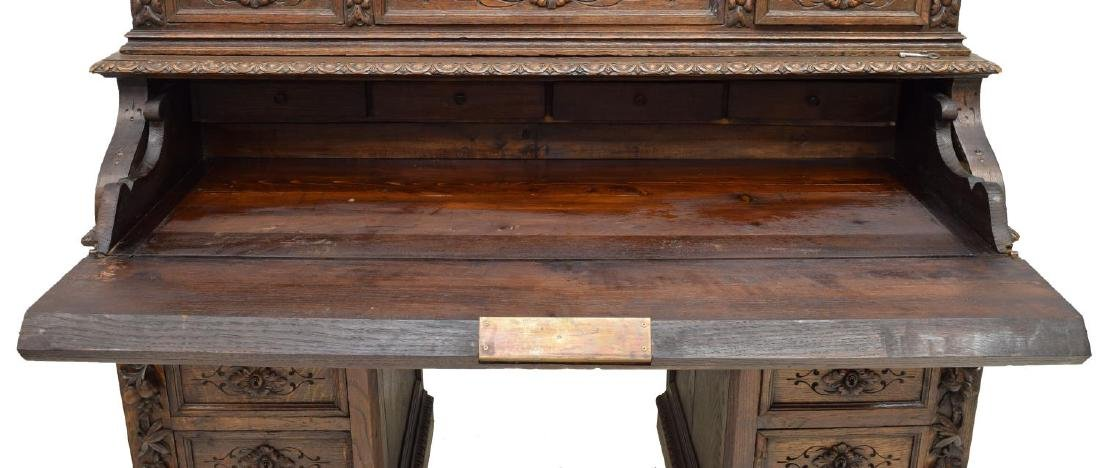 MONUMENTAL CARVED SECRETARY BOOKCASE - 3