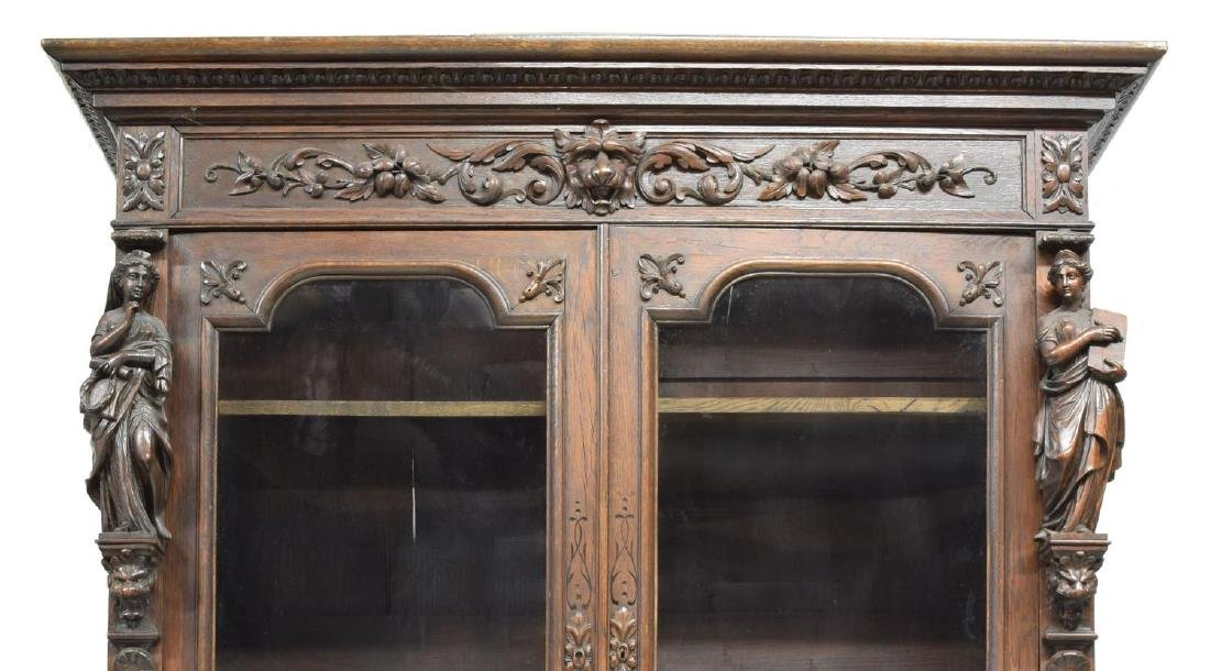 MONUMENTAL CARVED SECRETARY BOOKCASE - 5