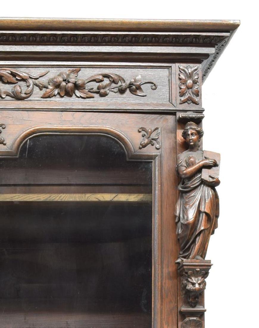 MONUMENTAL CARVED SECRETARY BOOKCASE - 6