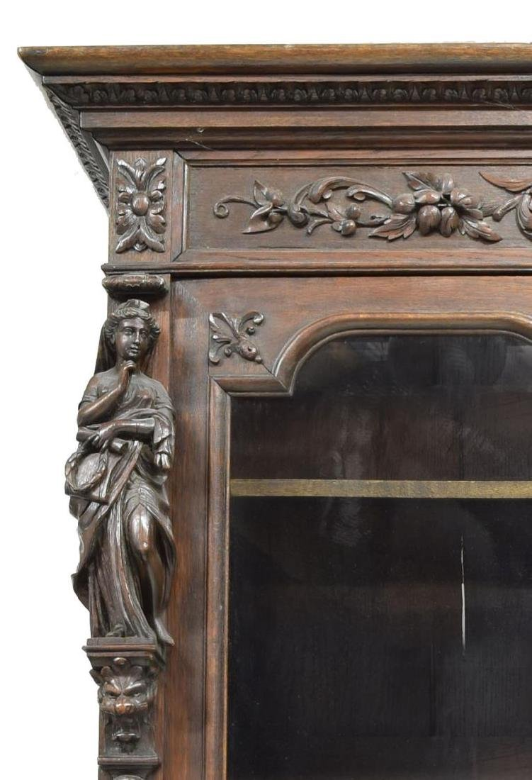 MONUMENTAL CARVED SECRETARY BOOKCASE - 7