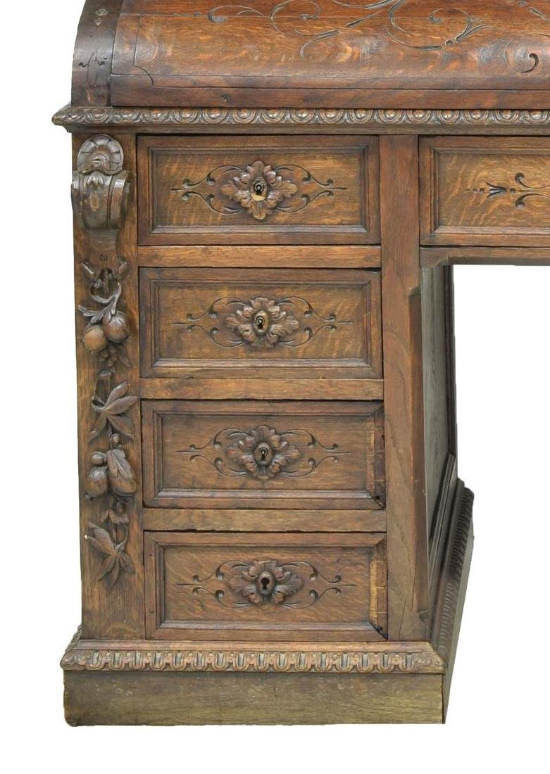 MONUMENTAL CARVED SECRETARY BOOKCASE - 8