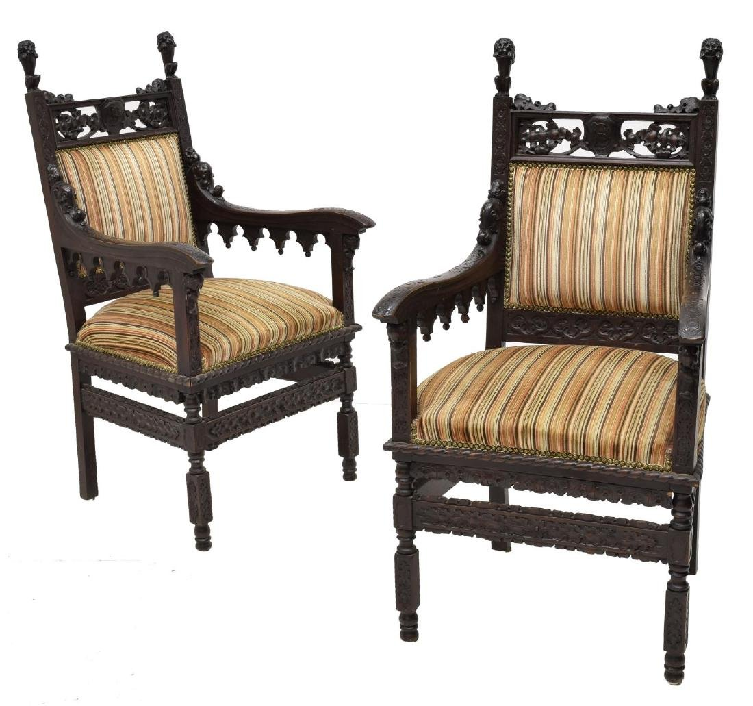 (2) STUNNING CONTINENTAL GOTHIC REVIVAL ARMCHAIRS