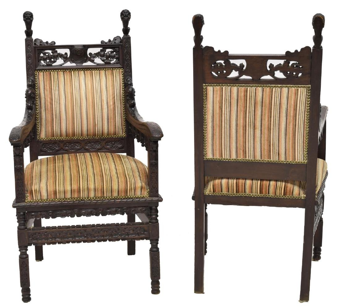 (2) STUNNING CONTINENTAL GOTHIC REVIVAL ARMCHAIRS - 2