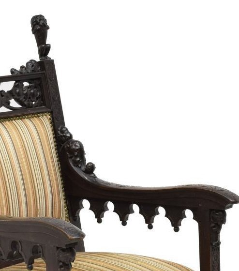 (2) STUNNING CONTINENTAL GOTHIC REVIVAL ARMCHAIRS - 4