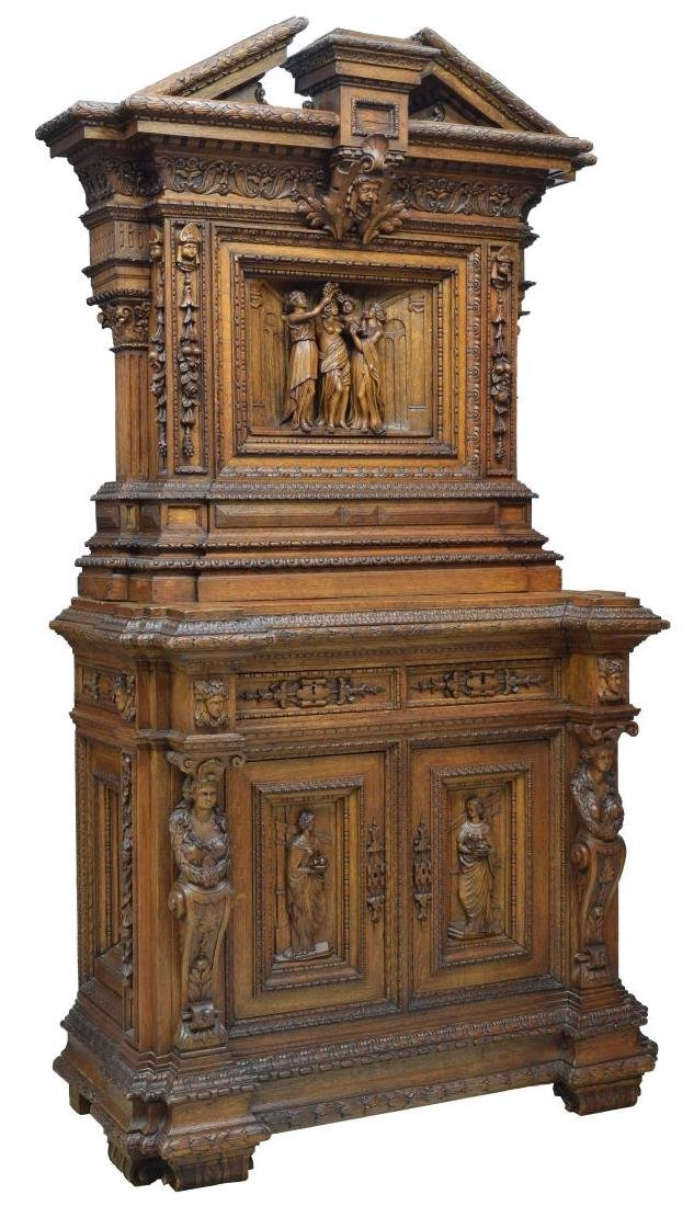 ORNATE FRENCH CARVED CLASSICAL FIGURES CABINET