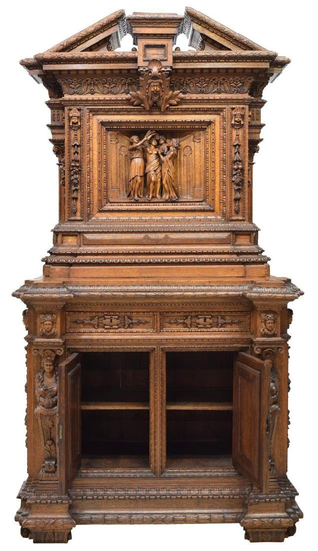 ORNATE FRENCH CARVED CLASSICAL FIGURES CABINET - 2