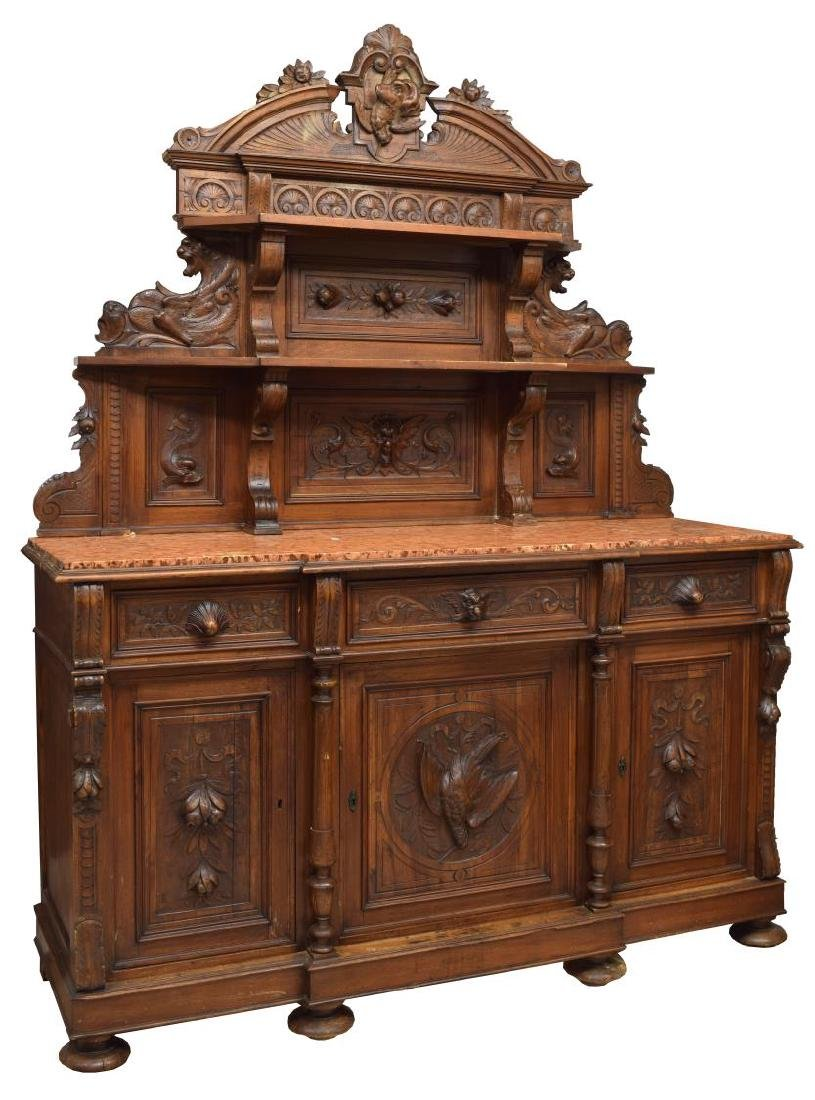 CONTINENTAL CARVED WALNUT HUNTING SIDEBOARD
