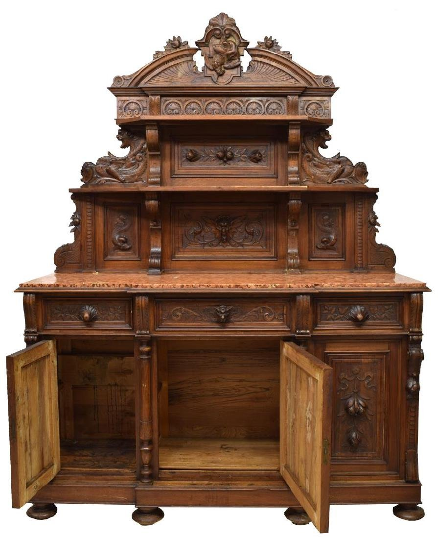 CONTINENTAL CARVED WALNUT HUNTING SIDEBOARD - 2