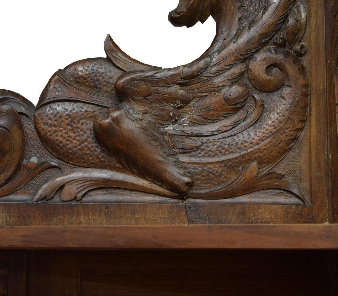 CONTINENTAL CARVED WALNUT HUNTING SIDEBOARD - 3