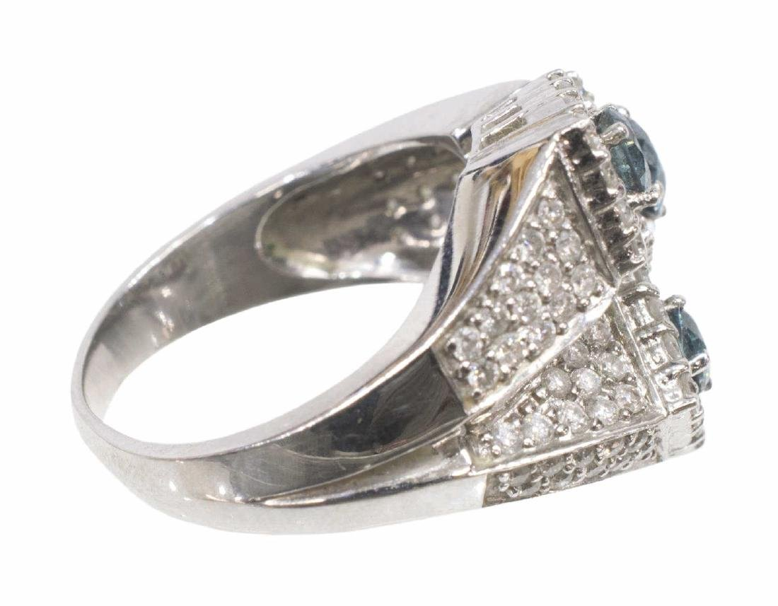 LADIES BLUE & WHITE DIAMOND 14KT GOLD ESTATE RING - 3