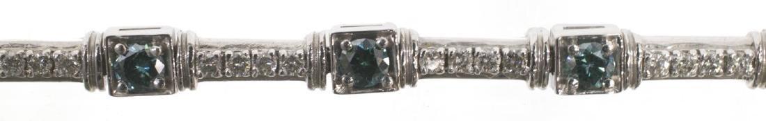 LADIES BLUE & WHITE DIAMOND 14KT GOLD BRACELET - 2