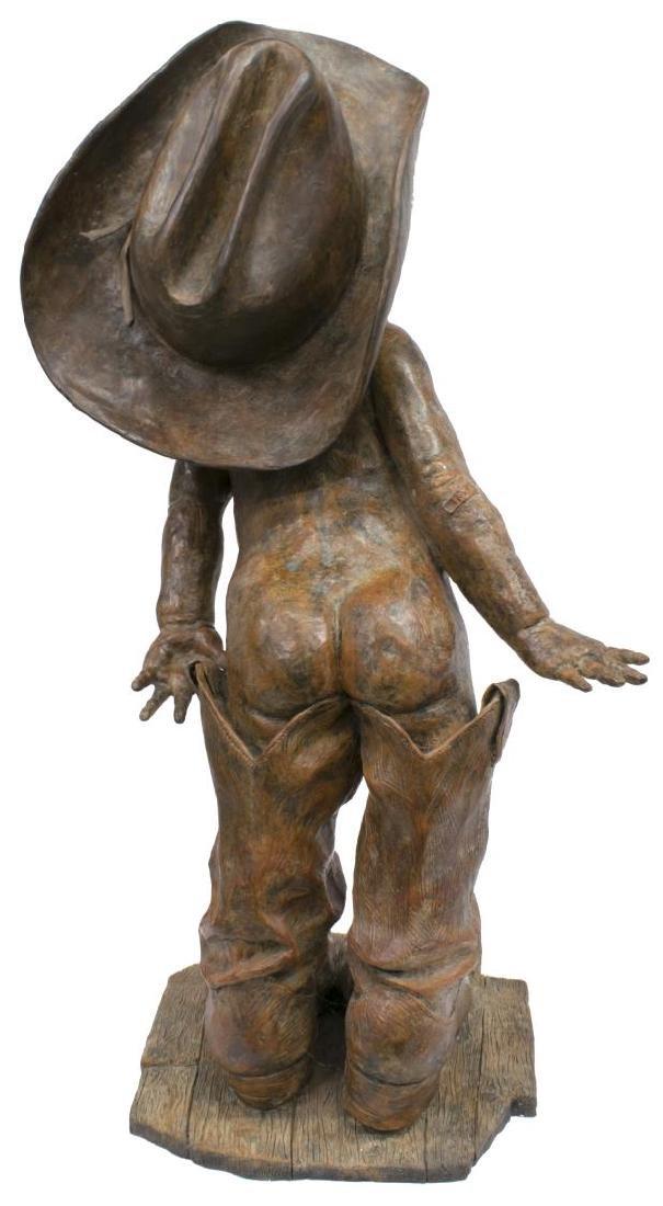 WALT HORTON (1949-2010) BRONZE LITTLE COWGIRL - 4