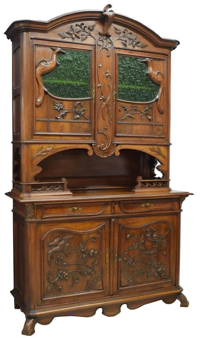 ART NOUVEAU HEAVILY CARVED WALNUT BUFFET/SIDEBOARD