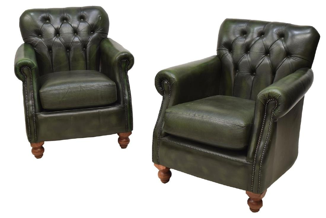 (2) CHESTERFIELD BUTTONED GREEN LEATHER ARMCHAIRS