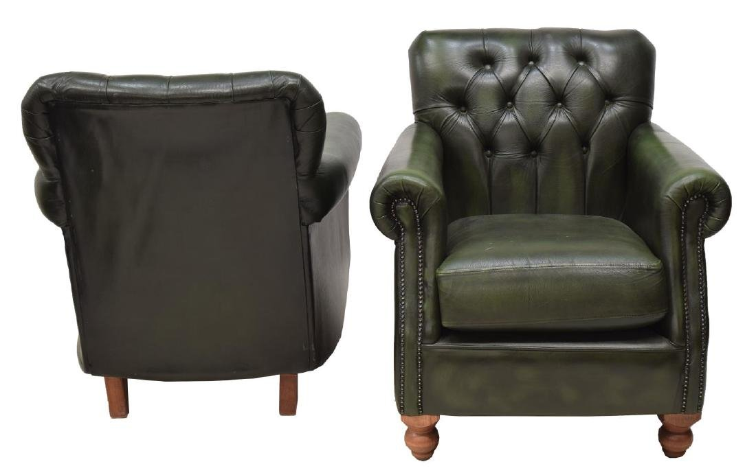 (2) CHESTERFIELD BUTTONED GREEN LEATHER ARMCHAIRS - 2