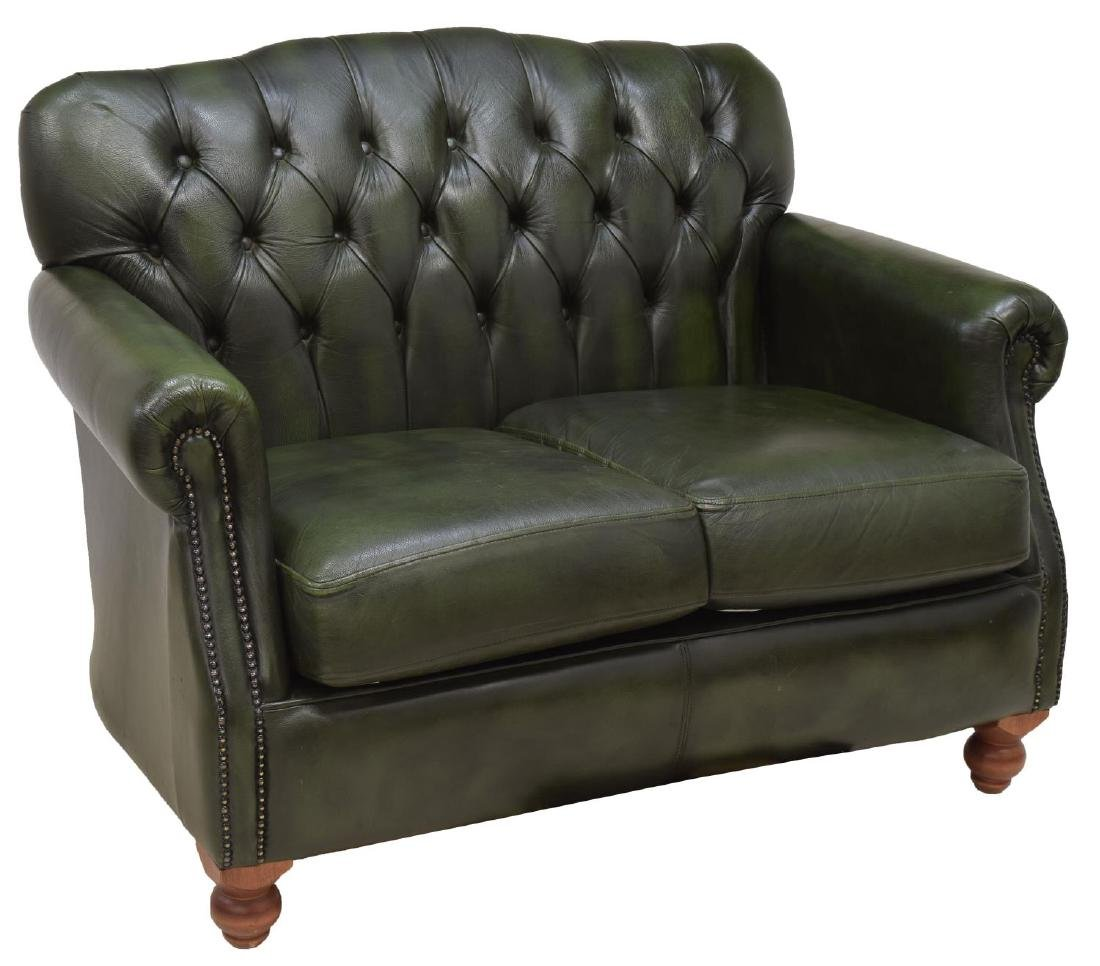 CHESTERFIELD GREEN LEATHER TWO-SEATER SOFA