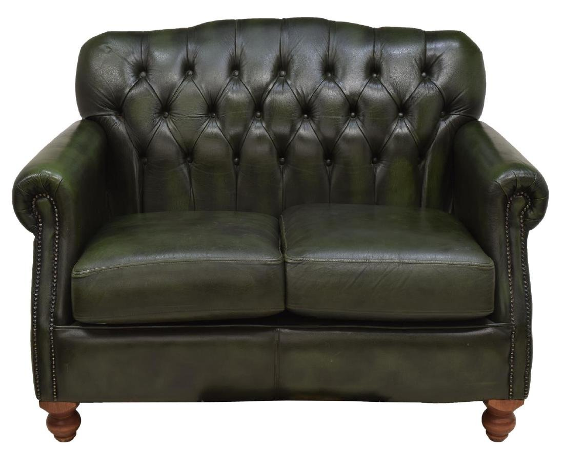 CHESTERFIELD GREEN LEATHER TWO-SEATER SOFA - 2