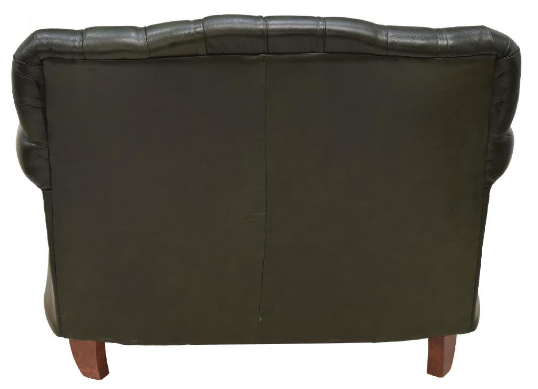 CHESTERFIELD GREEN LEATHER TWO-SEATER SOFA - 3