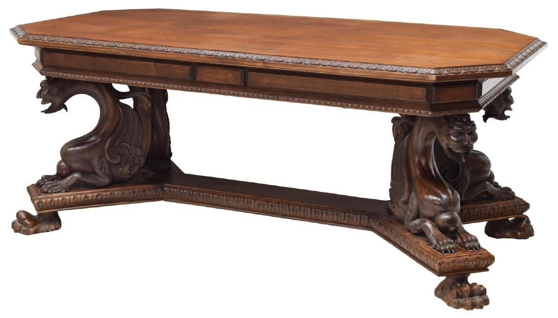 RENAISSANCE REVIVAL CARVED LIBRARY / DINING TABLE