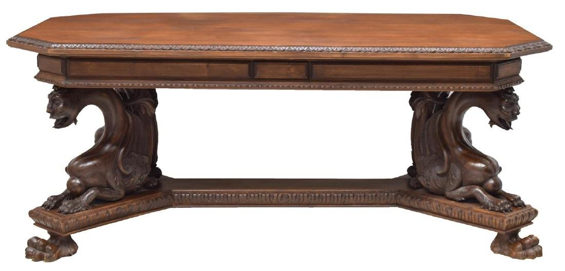 RENAISSANCE REVIVAL CARVED LIBRARY / DINING TABLE - 2