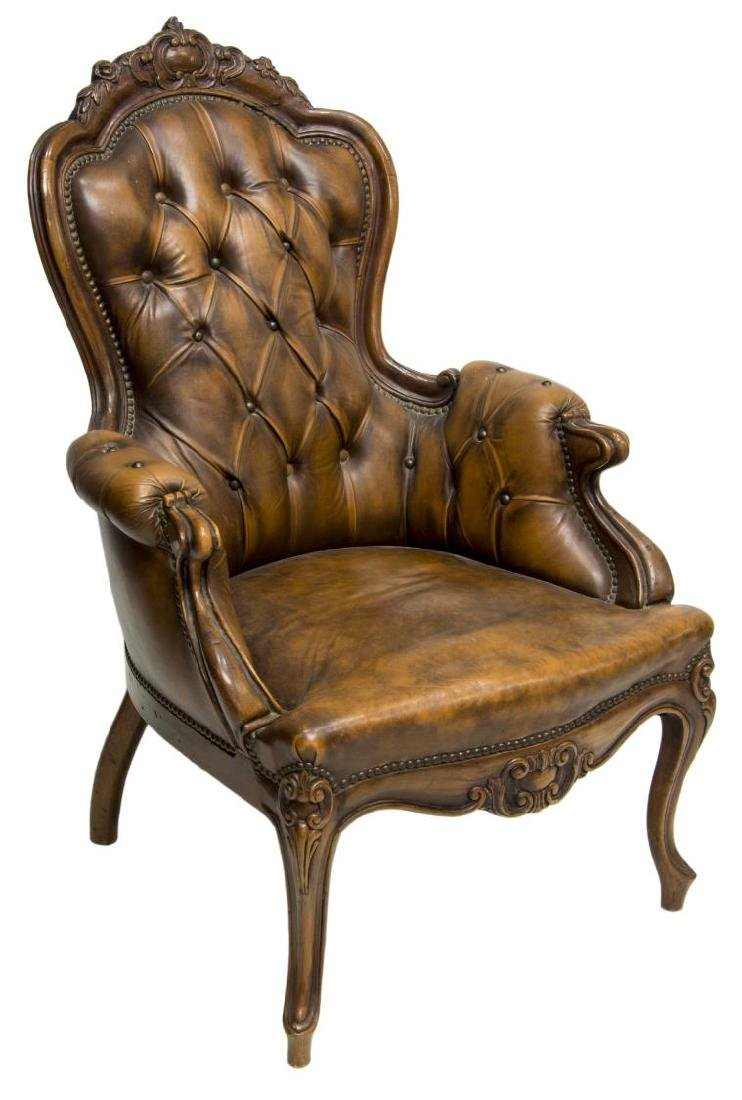 FRENCH LOUIS XV STYLE CARVED & LEATHER ARMCHAIR