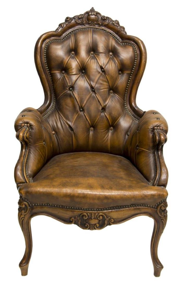 FRENCH LOUIS XV STYLE CARVED & LEATHER ARMCHAIR - 2