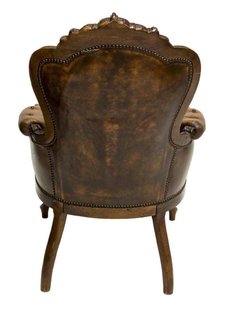 FRENCH LOUIS XV STYLE CARVED & LEATHER ARMCHAIR - 3