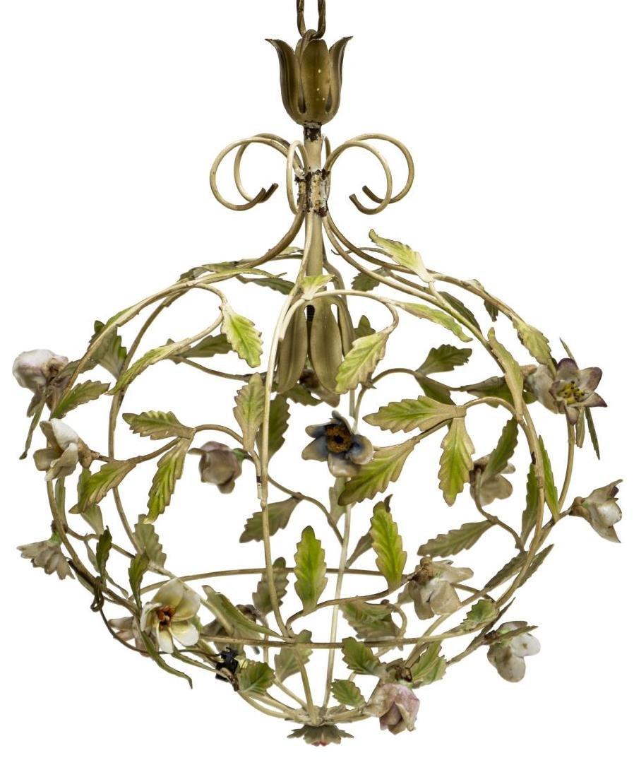 ITALIAN METAL AND PORCELAIN FLOWER 1LT CHANDELIER