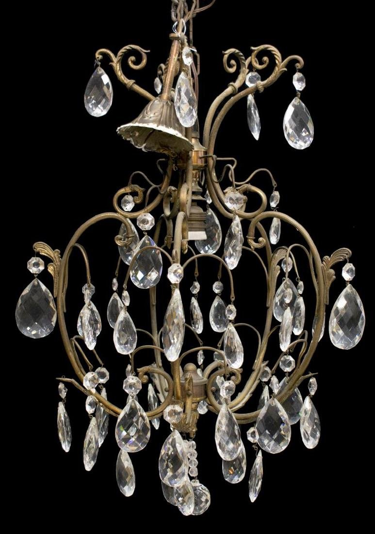 ITALIAN GILT METAL ONE-LIGHT CHANDELIER