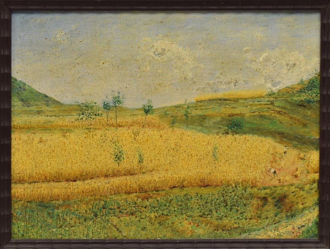 ITALIAN OIL ON BOARD PAINTING, GOLDEN HARVEST