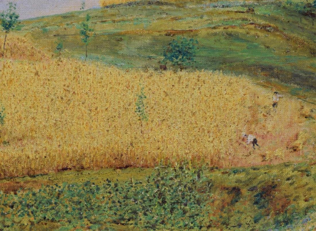 ITALIAN OIL ON BOARD PAINTING, GOLDEN HARVEST - 3