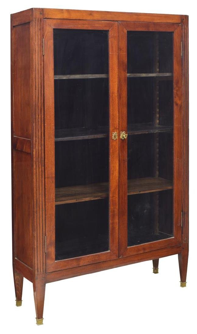 FRENCH MAHOGANY VITRINE GLAZED DOUBLE-DOOR CABINET