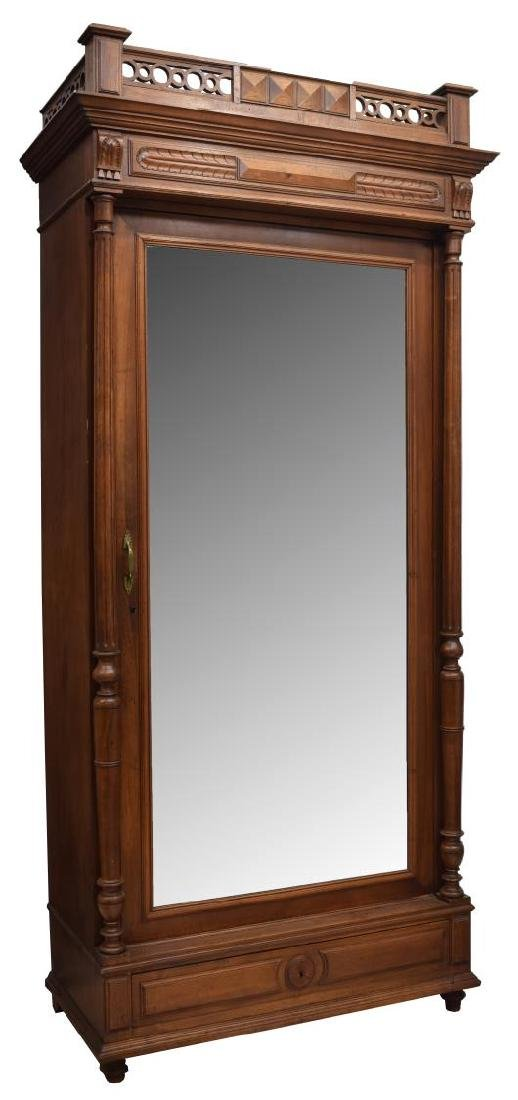 FRENCH HENRI II STYLE WALNUT FINISH ARMOIRE