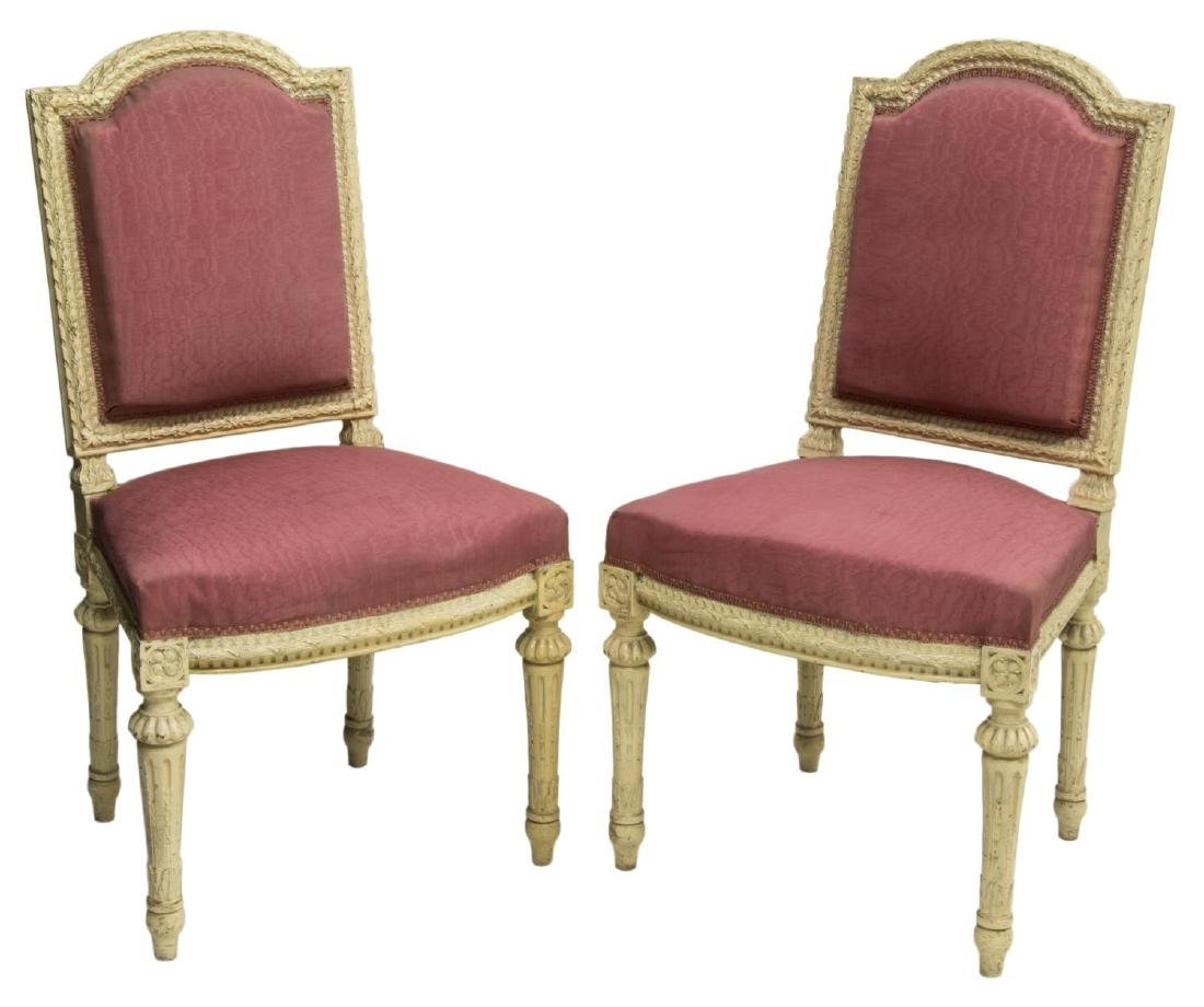 (2)FRENCH LOUIS XVI STYLE PAINTED WOOD SIDE CHAIRS