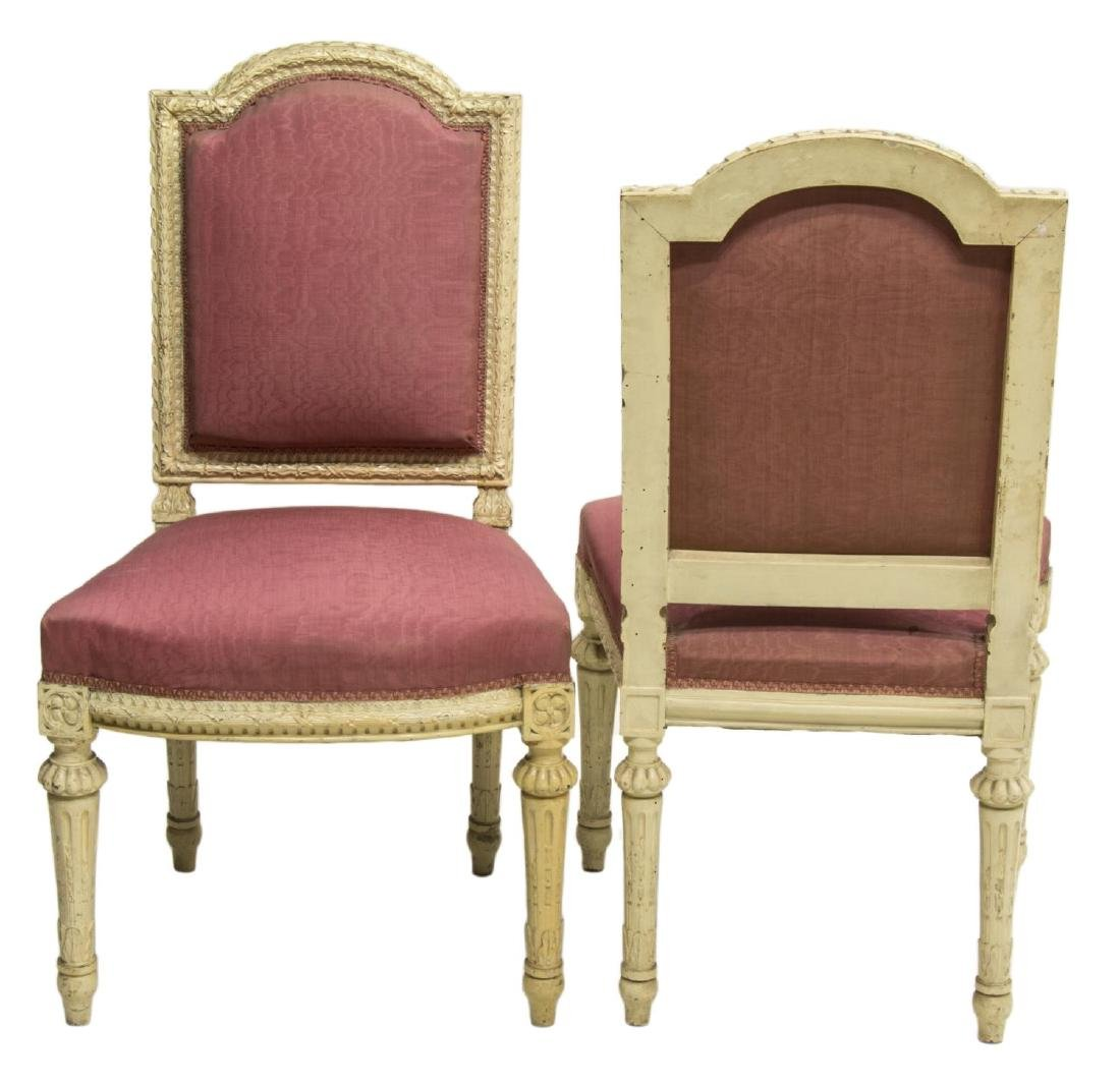 (2)FRENCH LOUIS XVI STYLE PAINTED WOOD SIDE CHAIRS - 2