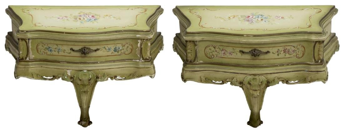 (2) VENETIAN LOUIS XV STYLE BRACKET CONSOLE TABLE