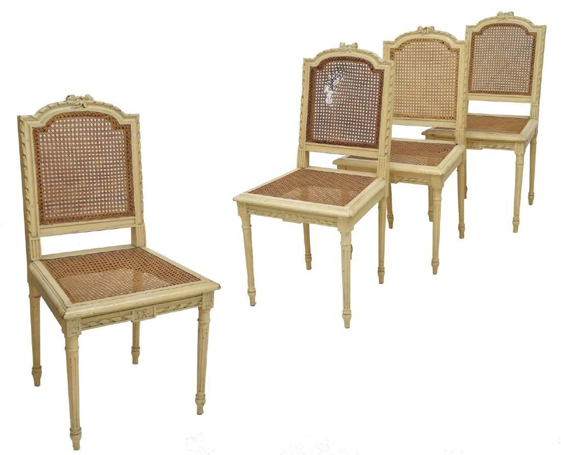 (4) FRENCH LOUIS XVI STYLE CANED SIDE CHAIRS