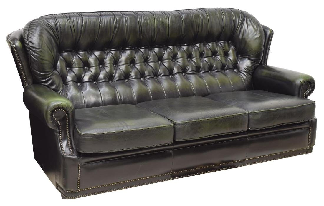 CHESTERFIELD DARK GREEN LEATHER THREE SEAT SOFA