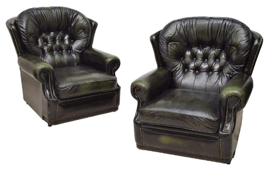 (2) CHESTERFIELD GREEN LEATHER WINGBACK ARMCHAIRS