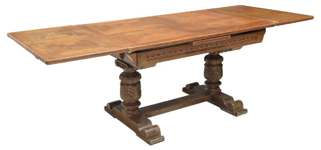 FRENCH JACOBIAN HEAVILY CARVED OAK DINING TABLE