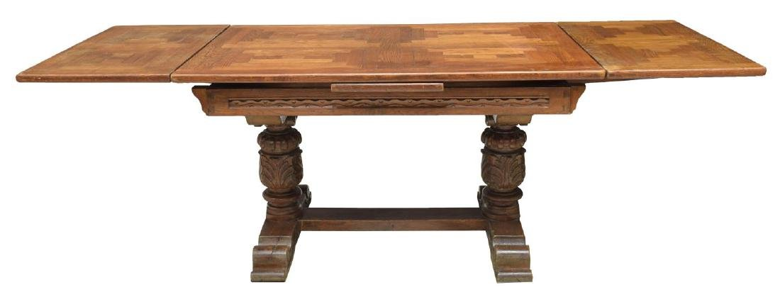 FRENCH JACOBIAN HEAVILY CARVED OAK DINING TABLE - 2